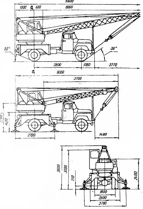 Автокран ЗИЛ-130 схема