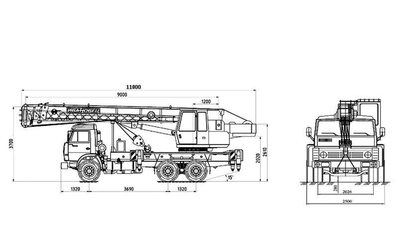 Автокран КС-45717K-2 размеры