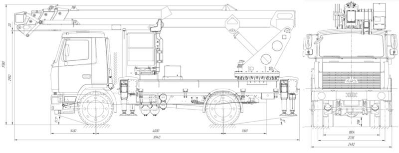 Автовышка на базе МАЗ схема