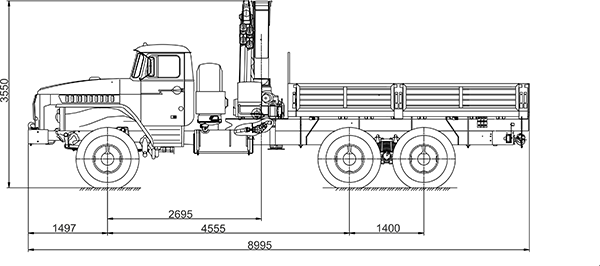 Кран манипулятор на базе Урал 4320 схема