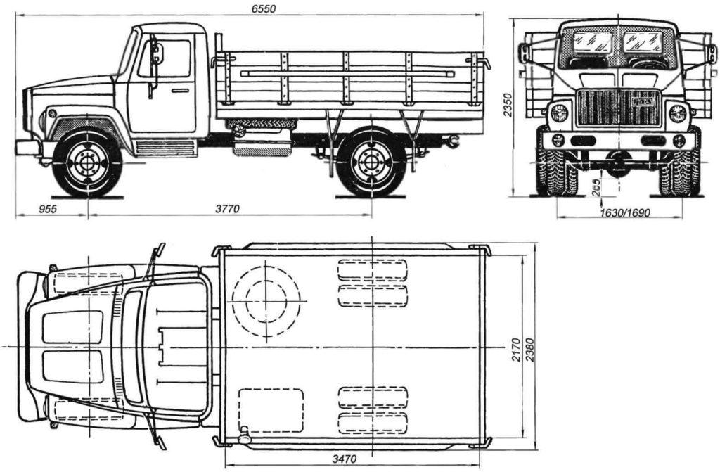 ГАЗ-3307 габаритные размеры