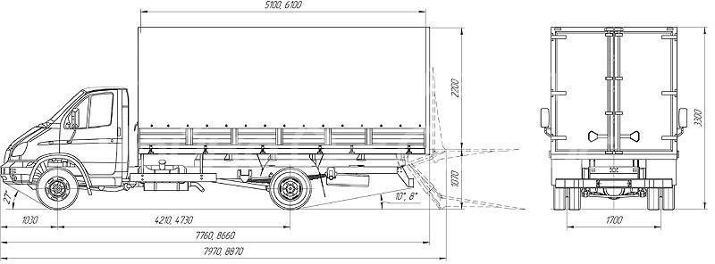 ГАЗ-33106 «Валдай» габаритные размеры