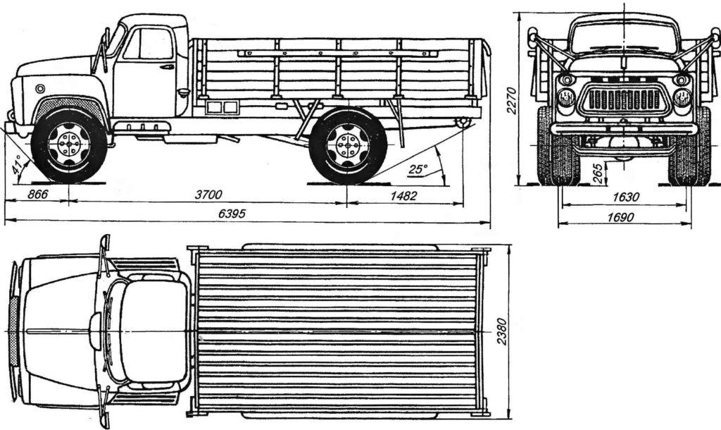 ГАЗ-53 габаритные размеры