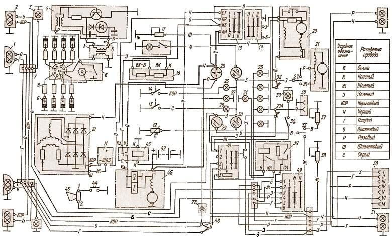 ГАЗ-53 схема электрики
