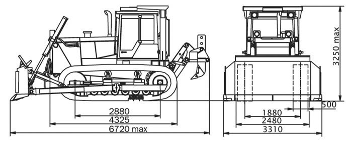 Габаритные размеры бульдозера т-170