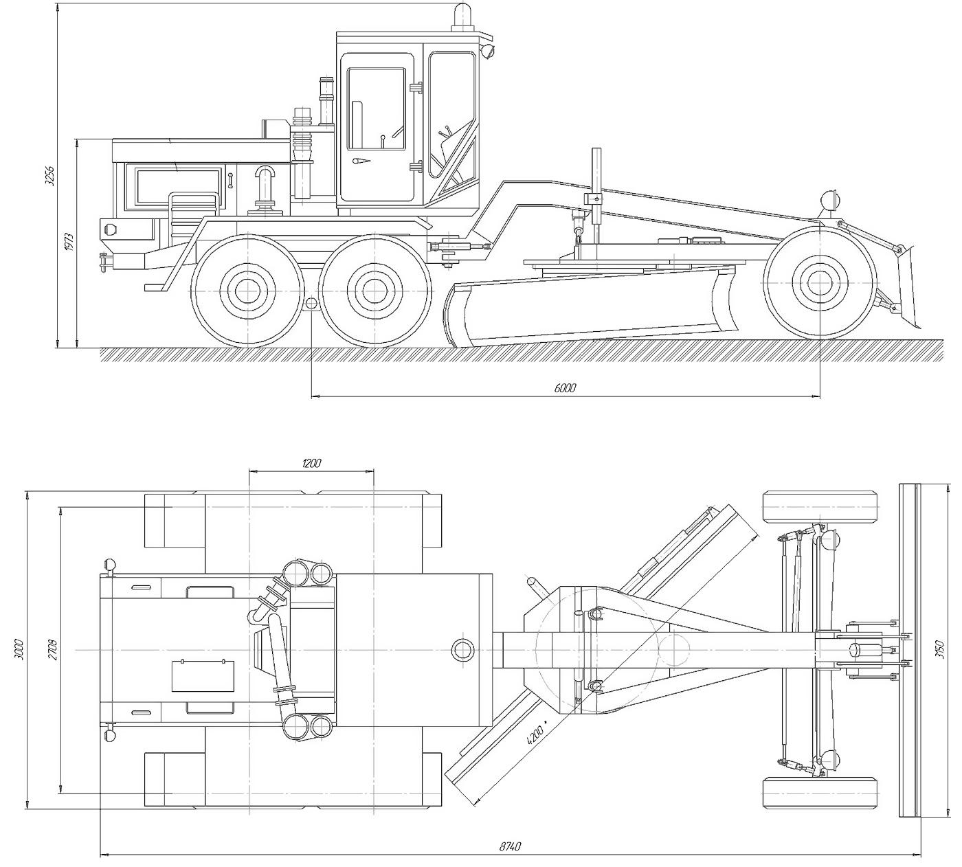 Автогрейдер ДЗ-98 габаритные размеры