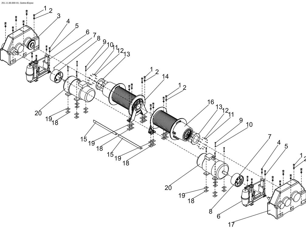 Кран ДЭК-251 лебека подъёма груза