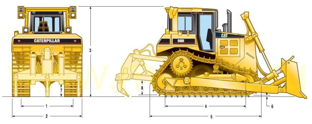 Бульдозер Caterpillar D6 габаритные размеры