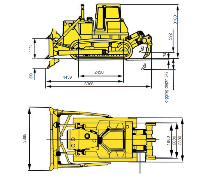 Бульдозер Shantui SD16 габаритные размеры