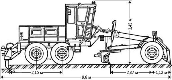 Автогрейдер ДЗ-143 габаритные размеры