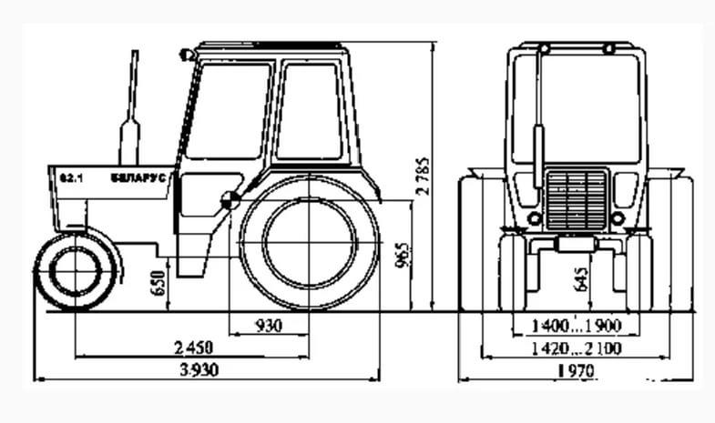МТЗ-82 габаритные размеры