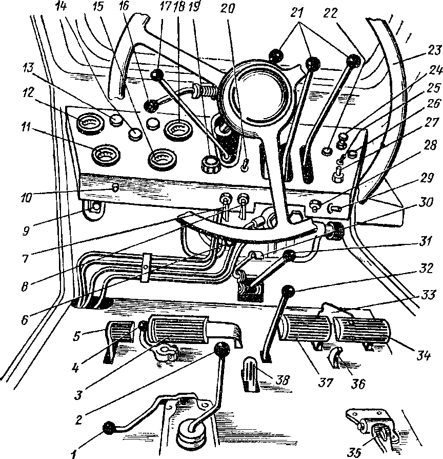Органы управления и приборы в кабине Т-40