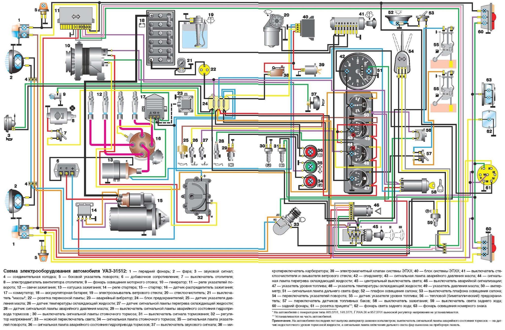 УАЗ-31512 электросхема