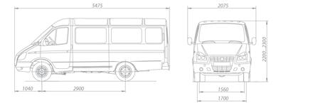 ГАЗ 3221 микроавтобус - длина ширина высота клиренс