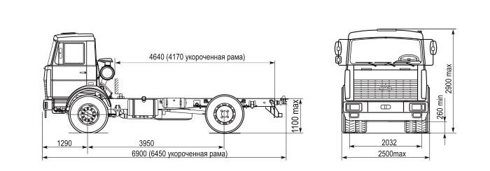 МАЗ 5337 схема шасси