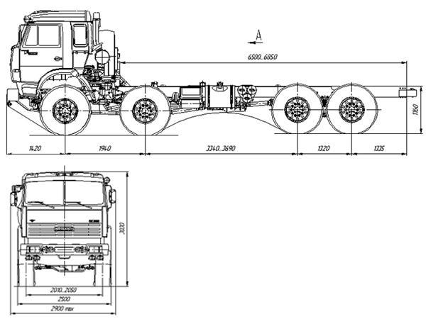 Автомобиль КАМАЗ 63501 Техническая характеристика, габаритные размеры