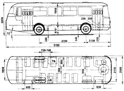 ЛАЗ-695Н габаритные размеры