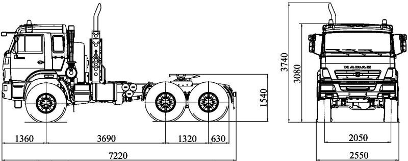 Габаритный чертеж автомобиля Камаз 53504