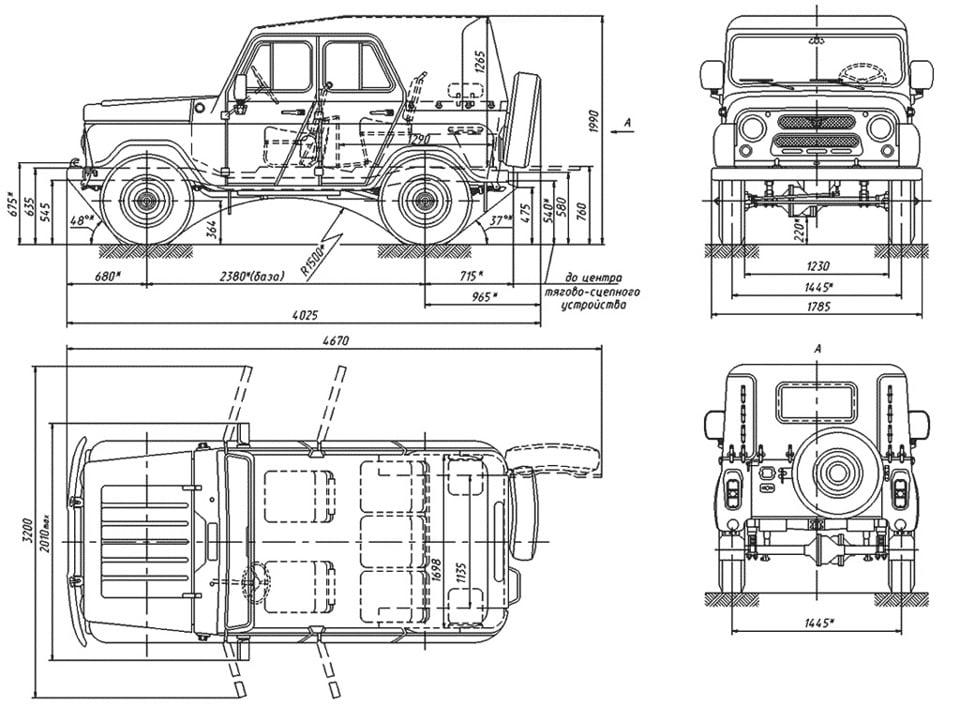 чертеж УАЗ-469 Геометрическая схема